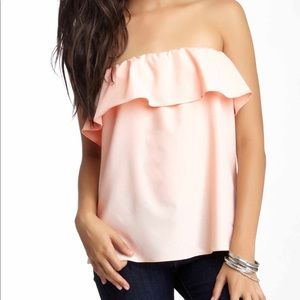 Pink Ruffle Strapless Top💕